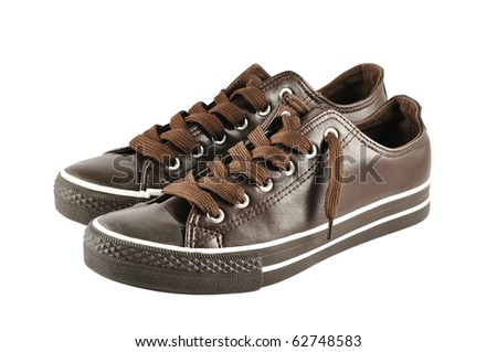 brown sneakers isolated on white background