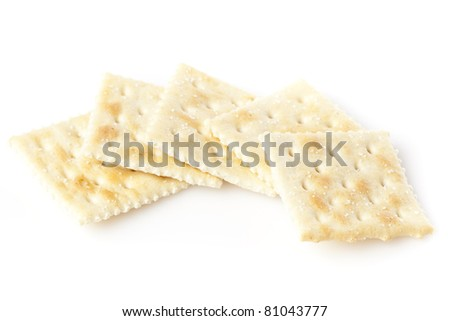 Brown Soda Crackers against a white background