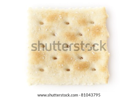 Brown Soda Crackers against a white background - stock photo