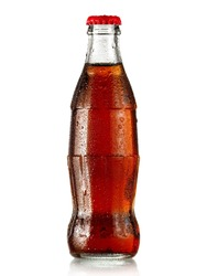 Brown soda water bottle with drops