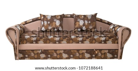 Brown sofa isolated on a white background. Brown sofa isolated on white include clipping path.                                #1072188641