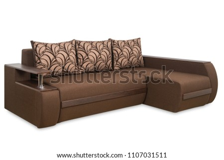 Brown sofa isolated on a white background. Brown sofa isolated on white include clipping path.                                #1107031511