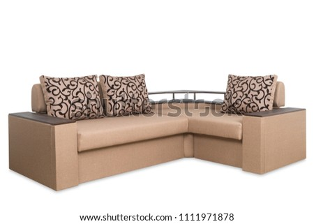 Brown sofa isolated on a white background. Brown sofa isolated on white include clipping path. #1111971878