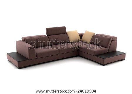 brown sofa isolated on white background