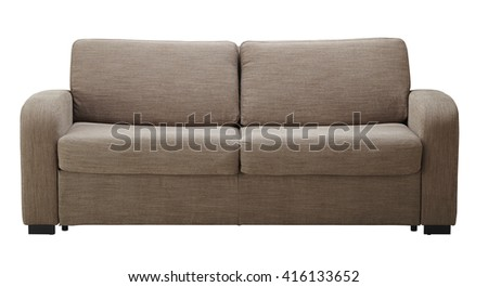 Brown sofa isolated on white  include clipping path #416133652