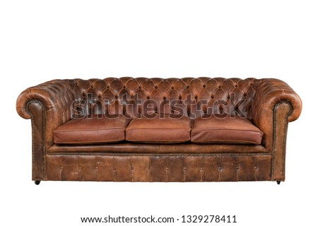 Brown soft leather luxurious sofa isolated on white