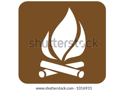 Brown Square US Parks And Recreation Sign containing the international symbol for a camp fire isolated on a white background.