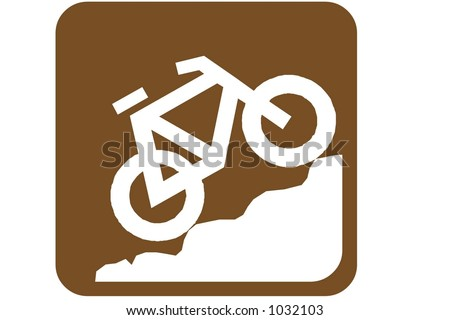 Brown Square US Parks And Recreation Sign containing the international symbol for Mountain biking  isolated on a white background.