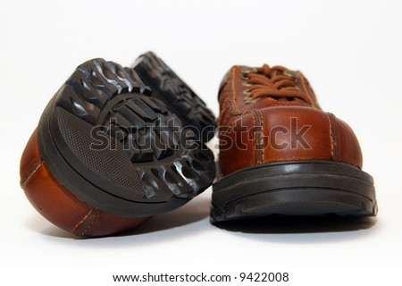 brown steel-toe boots