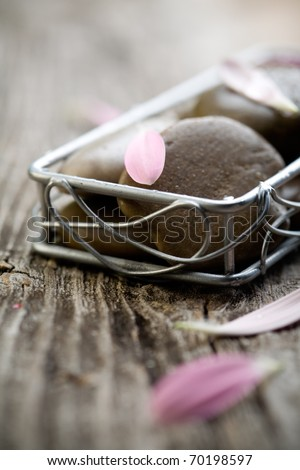 Brown stones with water drops and flower petals
