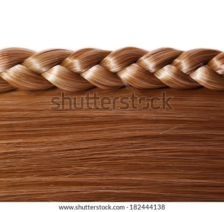 Brown Straight Hair and Braid or Plait isolated on white. Hair Care. Hair Salon