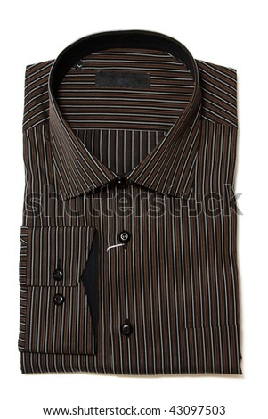 brown striped shirt folded flat on white background