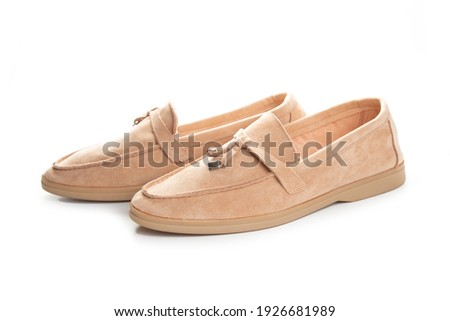 brown suede loafers shoes. Studio shot, white background Stock fotó ©