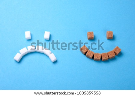 Brown sugar is more useful than white. The face of white sugar is sad, the face of brown sugar smiles. Cane sugar