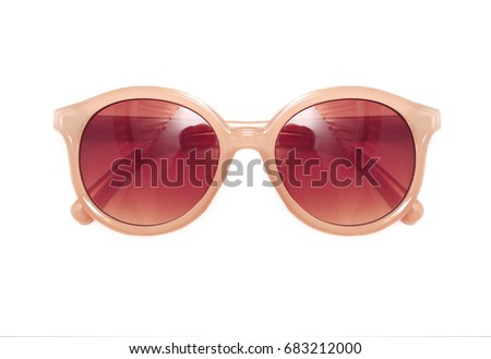Brown sunglasses isolated on a white background closeup #683212000