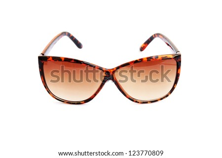 Brown sunglasses isolated on white background.