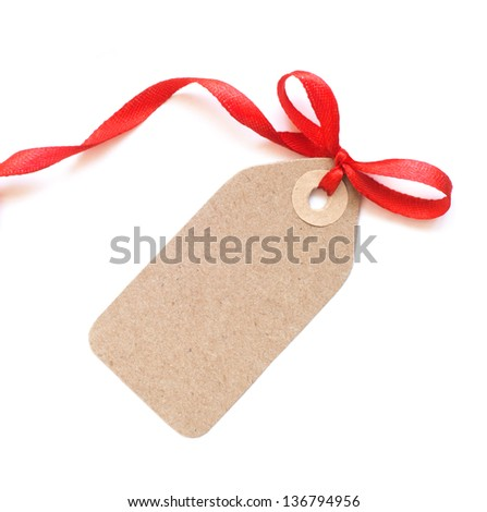 Brown tag with red ribbon bow