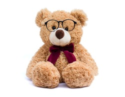Brown teddy bear with eye glasses  isolated on white background.