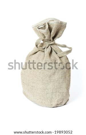 Brown textured sack. Isolated on white