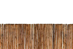 Brown timber fence or decorative wooden fence isolated on white background. Object with clipping path