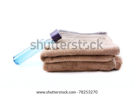 Brown towels on the white background