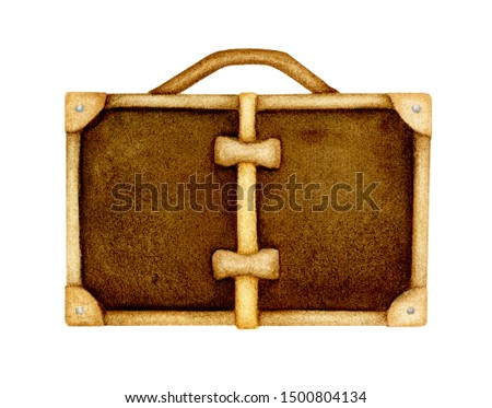 Brown valise hand painted watercolor clipart element isolated on white background