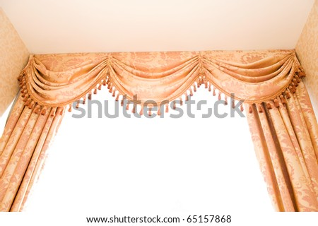 brown velvet theater curtains in a room over white background.