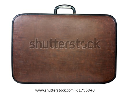 Brown vintage suitcase. Isolated over white background
