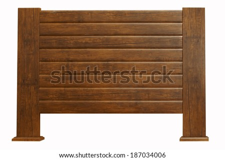 brown Vintage wooden headboard isolated on white #187034006