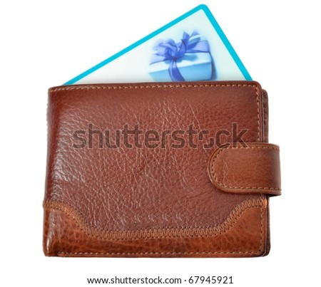 Brown wallet with discount card isolated on white - stock photo
