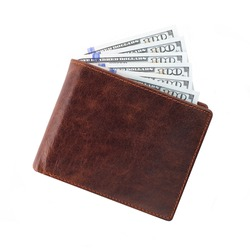 Brown wallet with money isolated on white background
