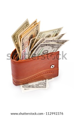 brown wallet with US Paper Currency on the white background