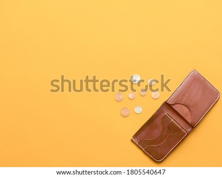 brown wallet with with scattered dollar and euro coins. last money, povert, job loss, saving concept. copyspace Foto d'archivio ©