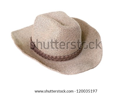 brown weaving hat with ribbon isolated on white