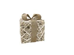 brown whitw giftbox straw wickerwork isolated