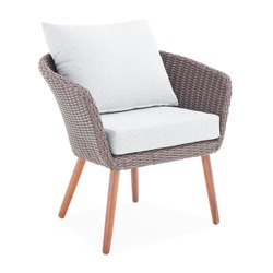 Brown Wicker Chairs with Cushions Isolated on White Background. All-Weather Outdoor Weave Rattan Loveseat. Outdoor Armchair. Dining Loose Back Chair with Fabric Cushion Seat. Patio Furniture