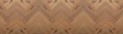 Brown wood background banner wide panorama - top view of wooden solid wood flooring parquet laminate brushed oak country house floorboard bright herringbones fish bone