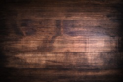 brown wood background, painted boards rustic style wenge color, texture of bark wood use as natural Copy space background with vignetting and postcrop
