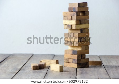brown  wood building block tower