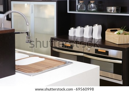 Brown wood kitchen modern stainless steel decoration house