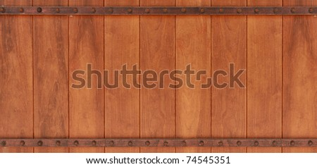 brown wood texture with metal plate and screw