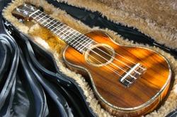 brown wood Ukulele on case