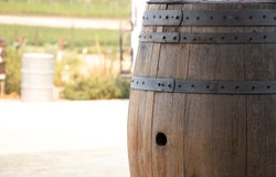 Brown wood wine  barrel with the space.