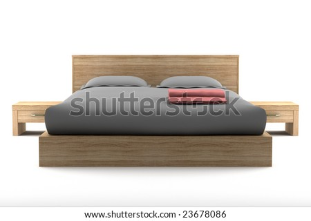 brown wooden bed isolated on white background