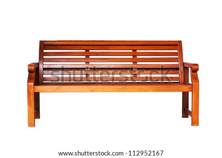 Brown wooden bench in the white background - stock photo
