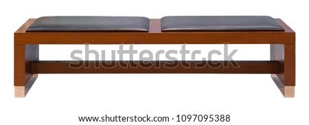 Brown wooden bench with two soft leather seats  isolated on a white background #1097095388