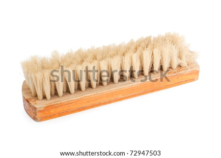 Brown wooden brush. Brown wooden brush isolated on white background.