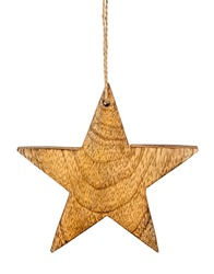 Brown wooden Christmas star hanger tag on chord isolated on white background