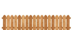 Brown wooden fence isolated on white background with parallel plank old. Object with clipping path