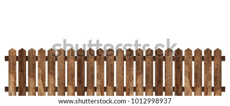 Brown wooden fence isolated on white background with parallel plank old. Object with clipping path #1012998937